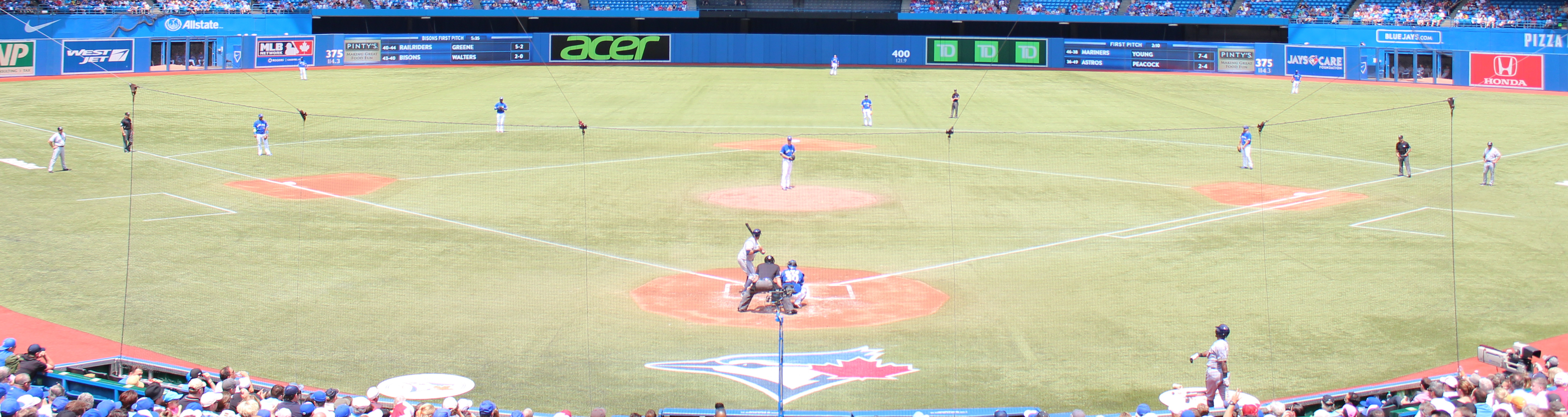Rogers Centre, roof open, behind home plate