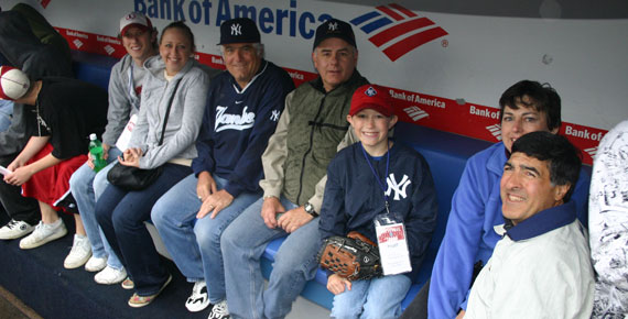 In the dugout at Yankee Stadium