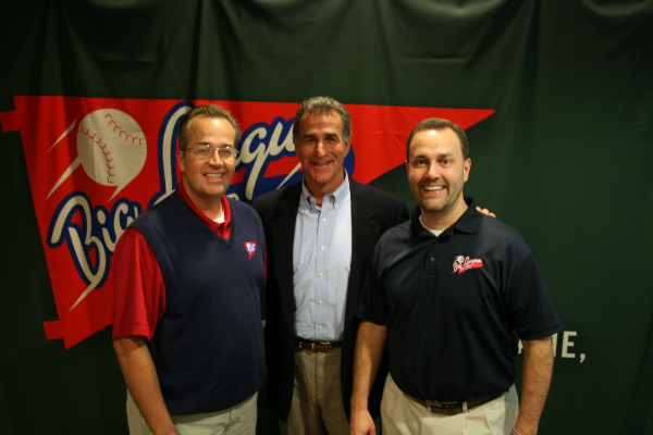 Chris Welsh (center) with Doug Lawson (left) and Glenn Dunlap (right) at the launch party for the 2013 baseball tours