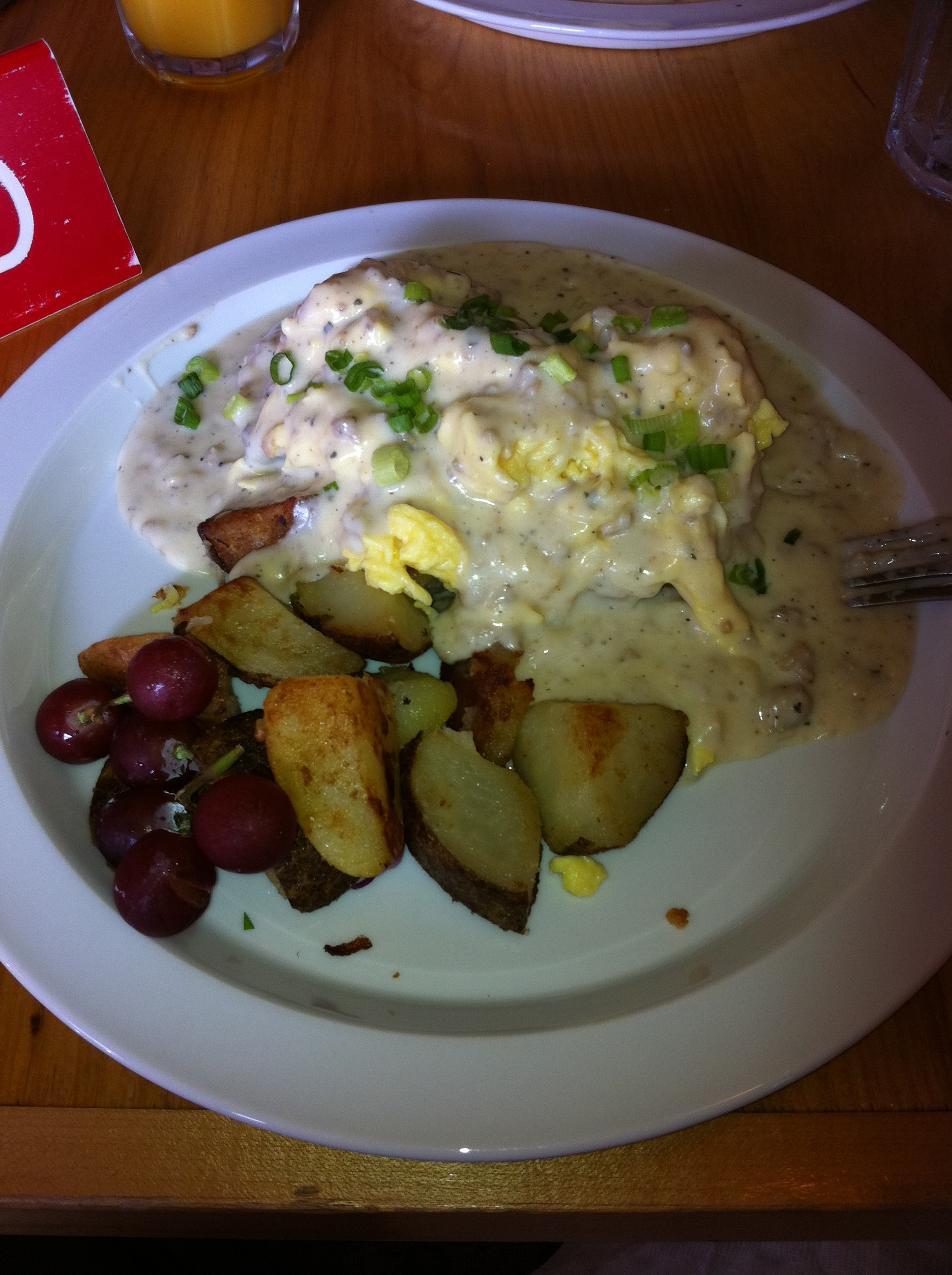Cheddar biscuits and gravy at Lucky's Cafe