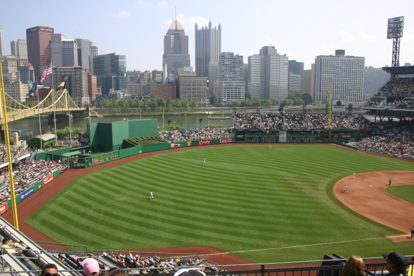 Walking thru PNC Park during the game to see different views