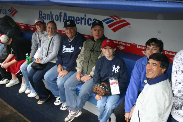 In the Yankees dugout on a private stadium tour