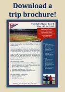 trip brochure, baseball tour package details