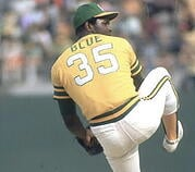 Vida Blue pitching for the Oakland A's