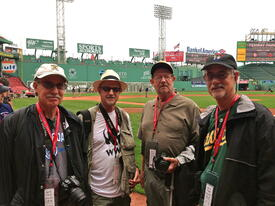 Fenway Park, on the field during batting practice