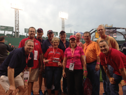 Group tour on the field at Fenway Park