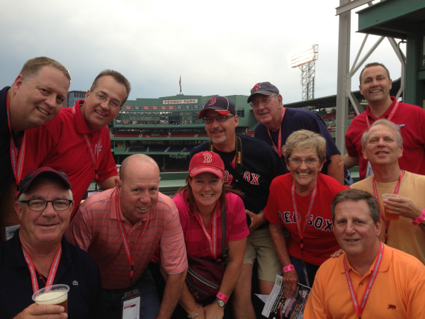 On the Green Monster at Fenway as part of our private ballpark tour.
